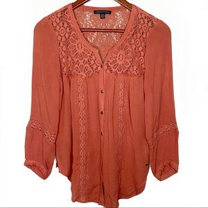American Eagle Outfitters Crochet Peasant Blouse